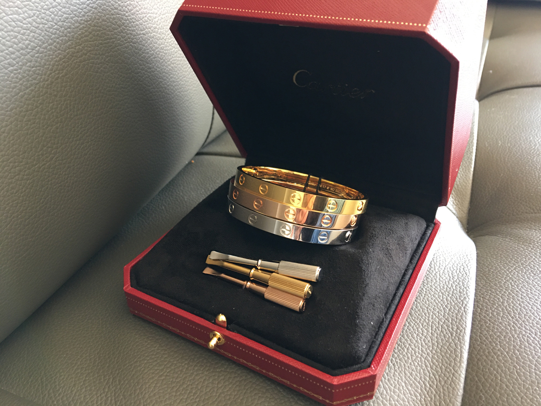 Cartier LOVE Bracelet. Classic. Yellow Gold, White Gold, Pink Gold