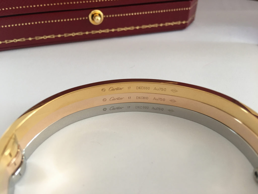 Cartier LOVE Bracelet New design / Small Model. Yellow Gold, Pink Gold, White Gold