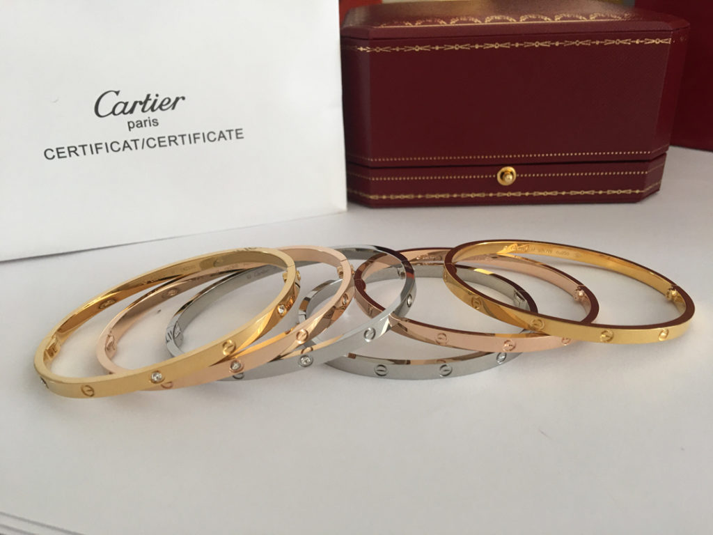Cartier Love Bracelet With Diamonds Yellow Gold, Pink Gold, White Gold