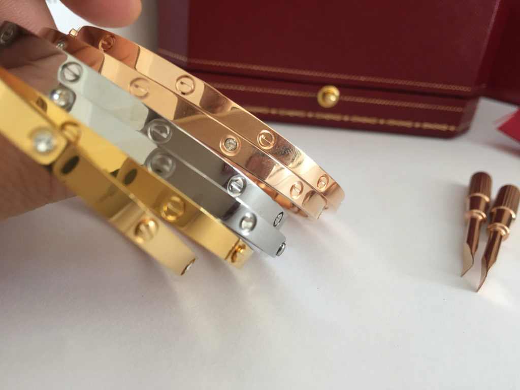 Cartier LOVE Bracelet Yellow Gold, Pink Gold, White Gold in size 16, 17, 18, 19