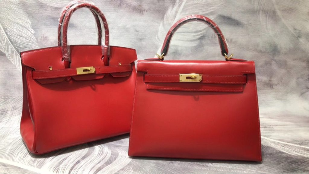 Hermes Birkin 30 / Kelly 28 Red Box Calf Leather Gold Hardware