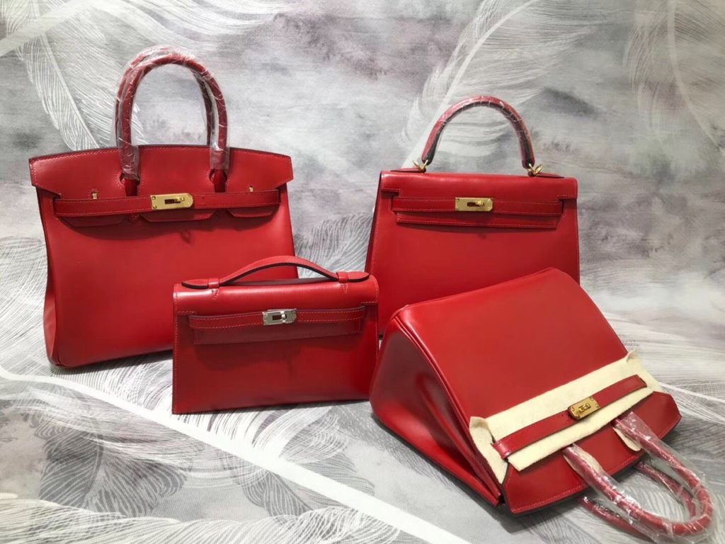 Hermes Birkin and Kelly Red Box Calf Leather Gold Hardware