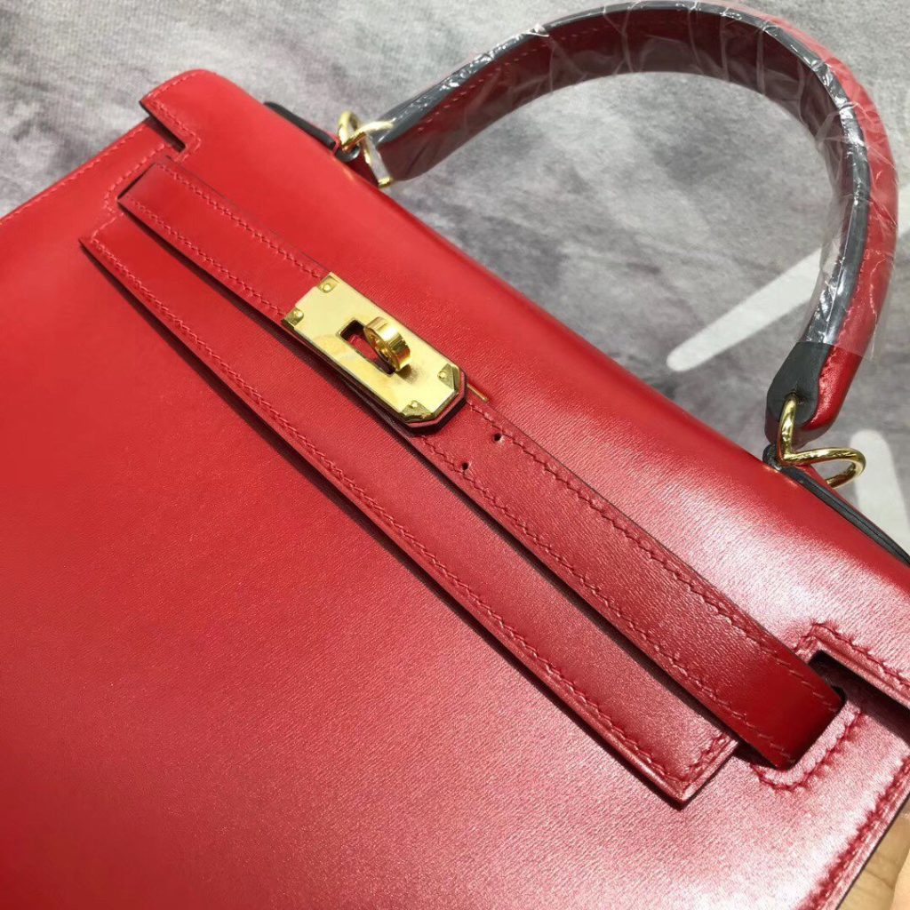 Hermes Kelly 28 Red Box Gold Hardware