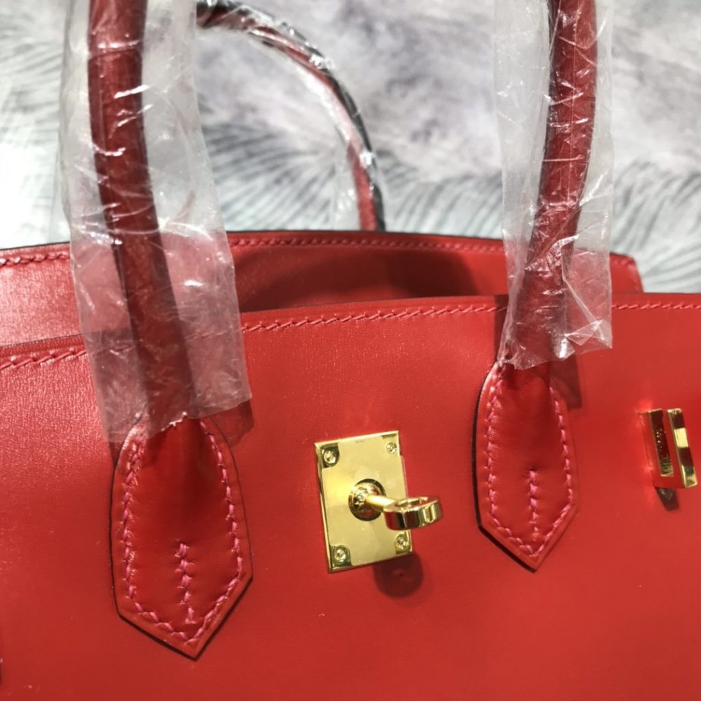Hermes Birkin 30 Red Box Calf Leather Gold Hardware
