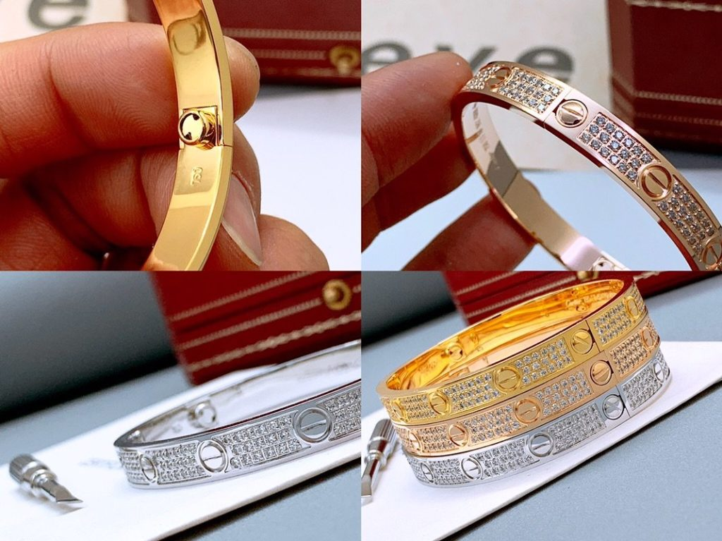 CARTIER LOVE BRACELET DIAMOND-PAVED YELLOW GOLD, WHITE GOLD, PINK GOLD