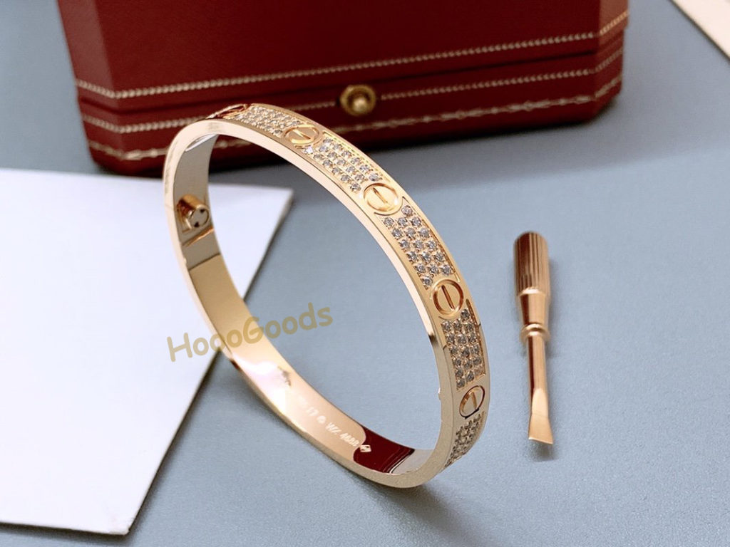 CARTIER LOVE BRACELET DIAMOND-PAVED PINK GOLD