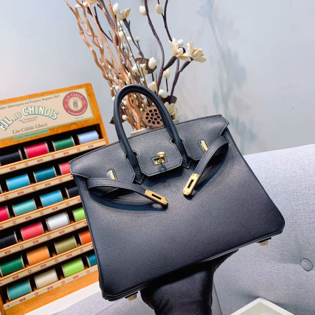 Hermes Birkin 25, 30, 35, 40 Black Swift Gold Hardware